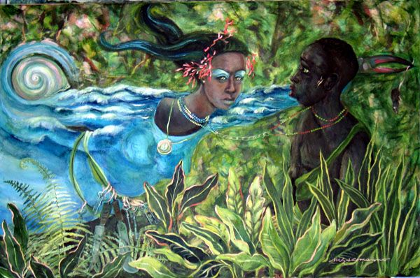 """Yemaya Okute"" by Maria Alemanno.  Yemaya Okute (or Yemoja Ogunte) is a young, warrior Yemaya. She is the wife of Ogun and lives half the year in the ocean and half the year in the woods. The machete is her tool."
