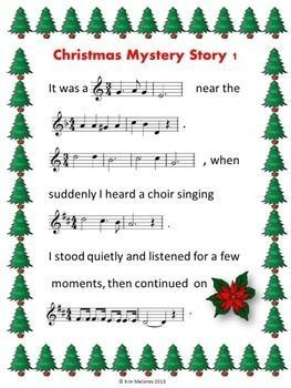 SIX Christmas Mystery Stories  In order for students to complete each story, they will need to identify the given music excerpts from well-known Christmas carols and songs. The missing words of the story will be the lyrics from the excerpts!   #musiceducation  #musiced   #elmused