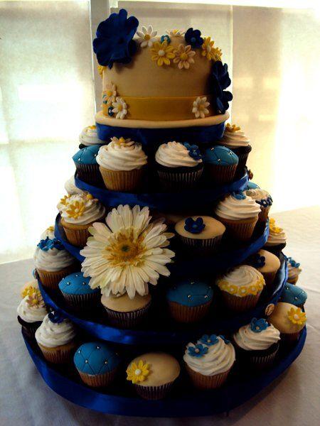 Blue Ivory White Yellow Cupcakes Edible Multi Shape Round Spring Summer Wedding Favors Photos