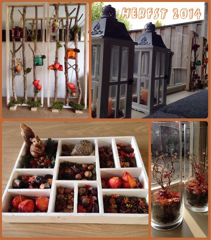 Herfst decoratie 2014. Letterbak, takken, enz.