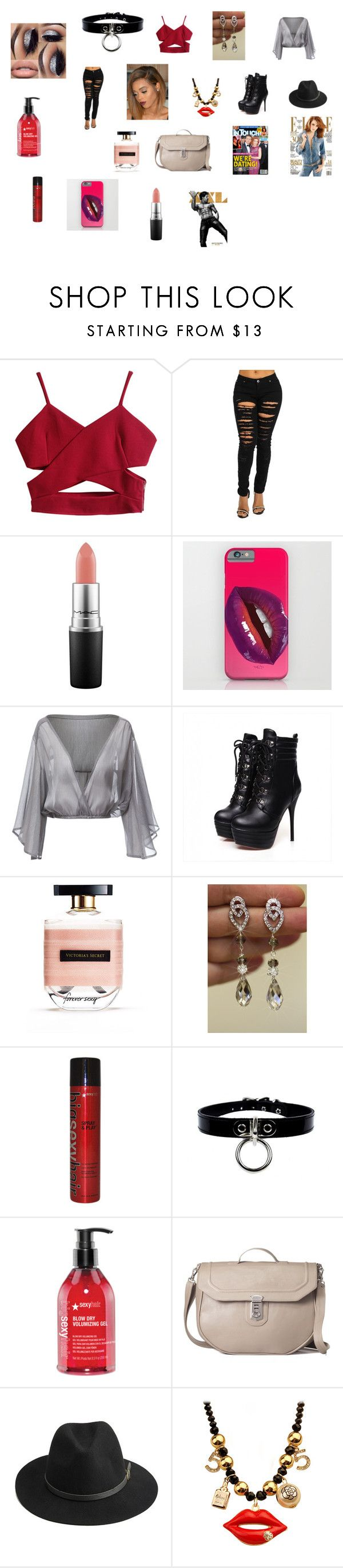 """""""Untitled #3"""" by sarah-blevins on Polyvore featuring MAC Cosmetics, Victoria's Secret, Sexy Hair, Colle'cte, BeckSöndergaard, Emma Watson, tatum, hotstuff and sexay"""