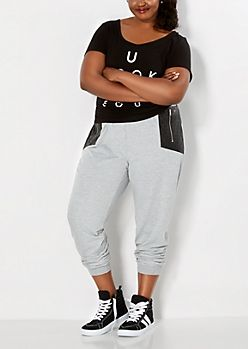Plus Paneled Quilted Leather Jogger