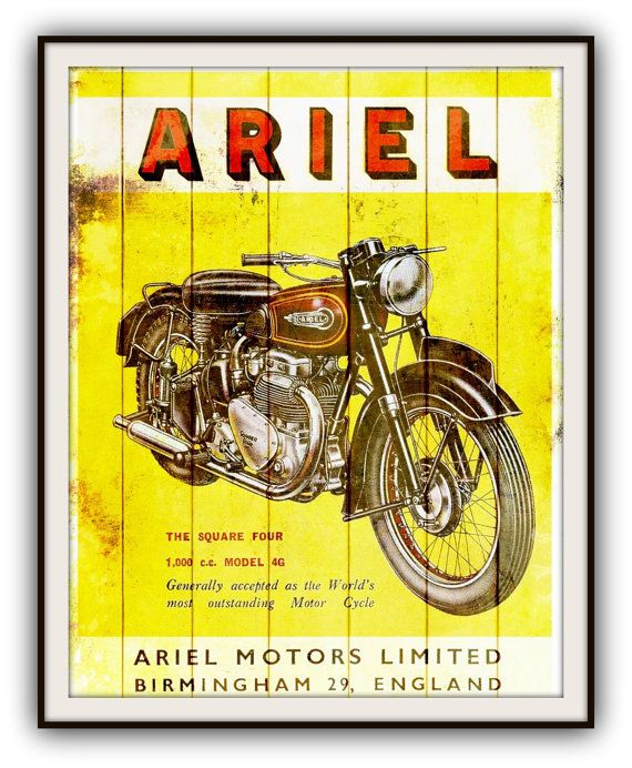 VINTAGE ARIEL MOTORCYCLE Poster  British by southcoaststudio