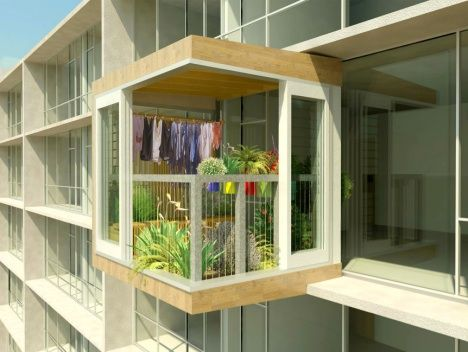 Plant Room, New Zealand - A prefabricated 'clip-on' garden shed/greenhouse designed for high-rise apartment buildings and condos.