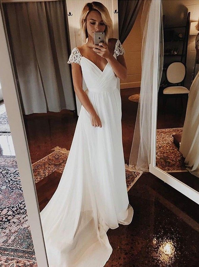 A-Line V-Neck Sweep Train White Wedding Dress with Lace