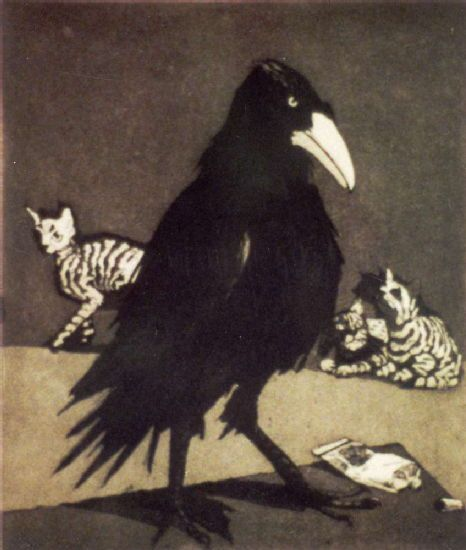 Crow by Paula Rego, etching, 1994