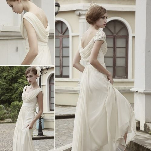 https://www.cityblis.com/5715/item/6692 | Soft Shiny Vintage Ivory Cowl Wedding Dress - $416 by Elliot Claire London | SKU# 80522 (Shiny)  Vintage wedding dress in light ivory tone featuring A Line silhouette with chiffon overlay floor length skirt, belted waistline, gorgeous chiffon cowl neck, and single full embellished sleeve.  Other sizes available for made to measure. Send us a message to inquire about other... | #Dresses