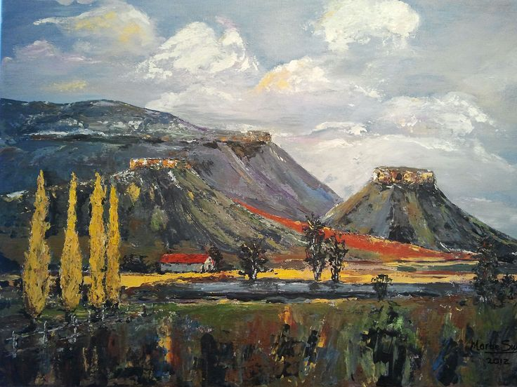 """Title: """"Poplars and sandstone"""" Eastern Free State Landscape. Acrylic painting by…"""