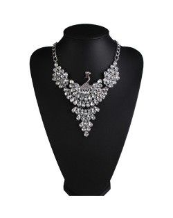 Rhinestone Mingled Peacock Design Statement Fashion Necklace - White