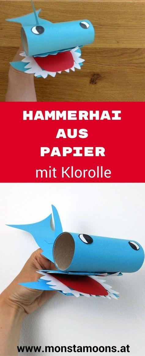 Hammerhai basteln, Handpuppe basteln, Basteln mit Klorollen, tube crafts, hammerhead shar, shark craft, summer craft, Monstamoons, hand puppet craft