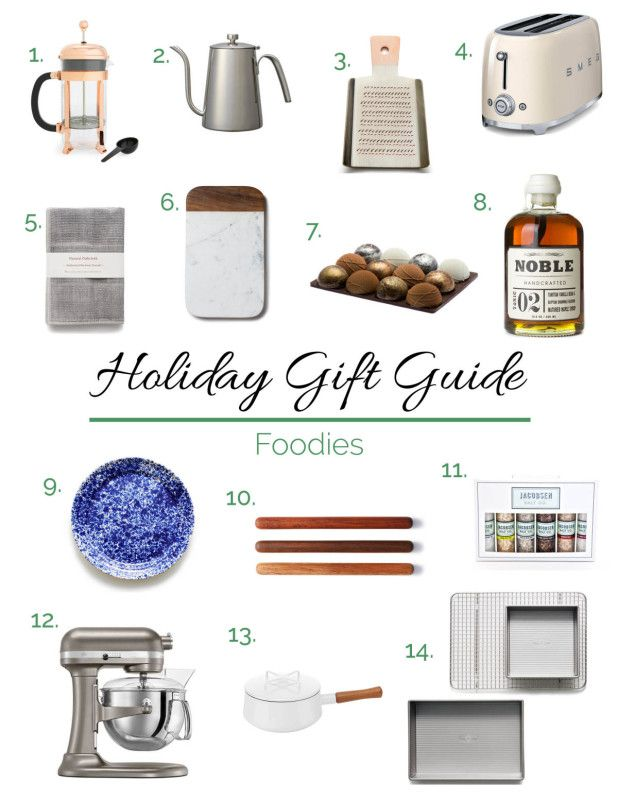 This holiday gift guide has fourteen gifts for the foodie in your life. Linens, pantry items, kitchen electrics and accessories that will please anyone.