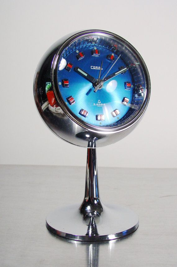 Mid Century Space Age Alarm Clock Blue and Chrome by ClubModerne