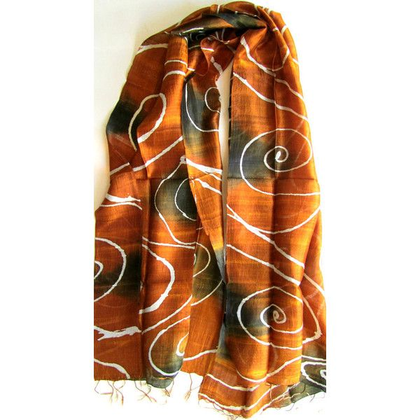 Brown Silk Shawl Hand Dyed Handwoven Batik Handmade Wedding Gift... ($27) ❤ liked on Polyvore featuring accessories, scarves, silk shawl, lightweight shawl, brown scarves, shawl scarves and brown shawl