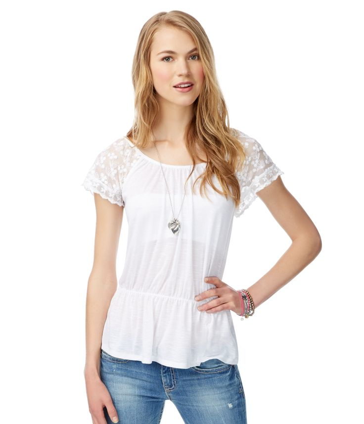 Lace Sleeve Top from Aéropostale