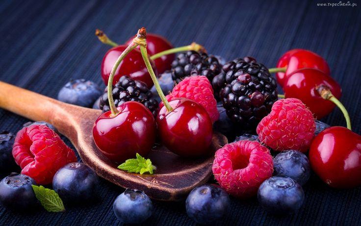 Owoce, Czereśnie, Maliny, Jeżyny, Jagody