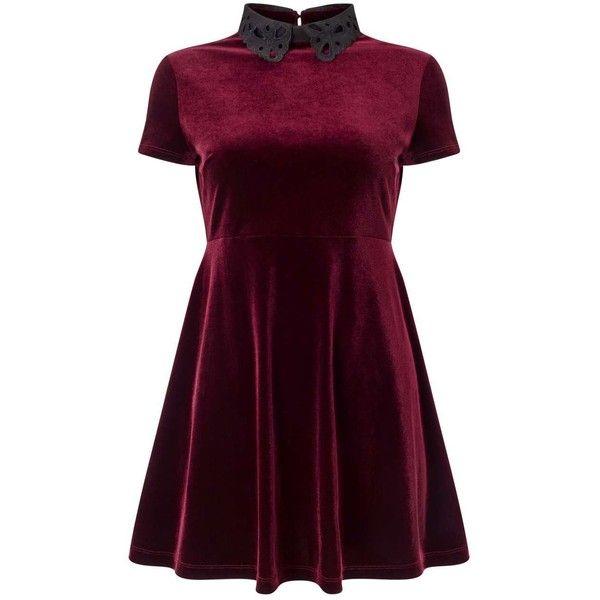 Miss Selfridge PETITE Burgundy Velvet Skater Dress (£18) ❤ liked on Polyvore featuring dresses, vestidos, short dresses, burgundy, petite, mini dress, purple skater skirt, burgundy velvet dress, burgundy skater dress and velvet mini dress