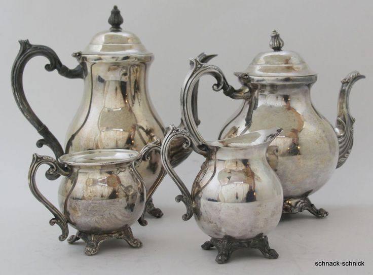 F.B.Rogers Silver Barock Stil Kaffee Tee Kanne Zucker Milch Kännchen Silber Aufl
