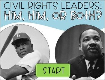 Martin Luther King Jr and Jackie Robinson- This FREEBIE is an interactive PDF game where your students will decide if a fact is about MLK Jr, Jackie Robinson, or both of them. This is a great way for them to make connections between both civil rights leaders.This NO PRINT, NO PREP is the perfect activity for you and your students!