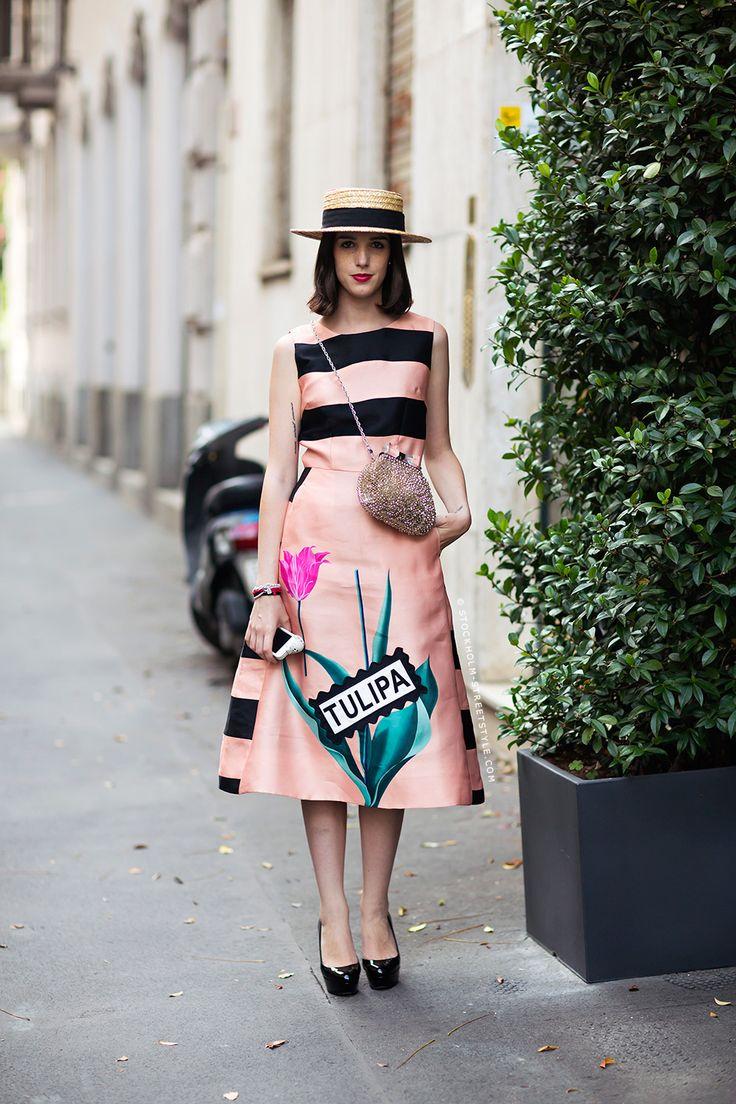 Stripes in street style. Giulia Baggini at Milan Fashion Week Spring 2015.