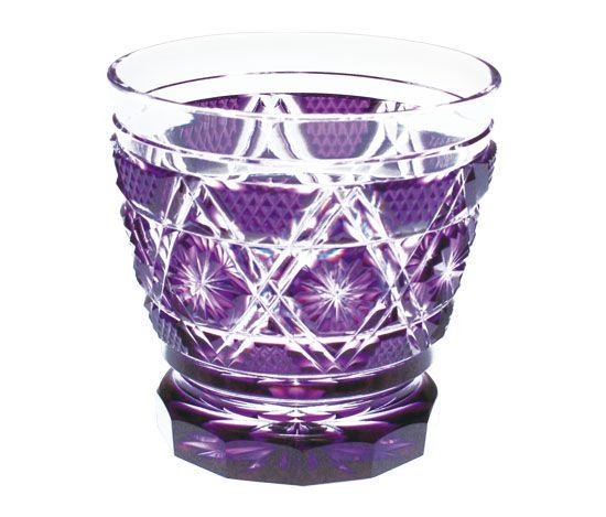 Sklenička na drink • fialové sklo,Edo Kiriko