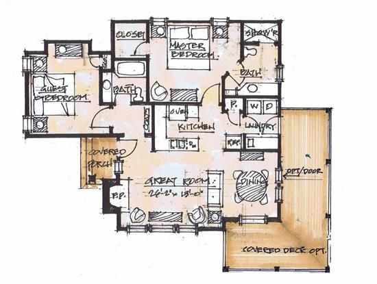 Tea Cup Main Floor - Natural Element Homes 2 bed 2 bath.  Has a nice flow and guest room is kind of separated some from the main living spaces of the house