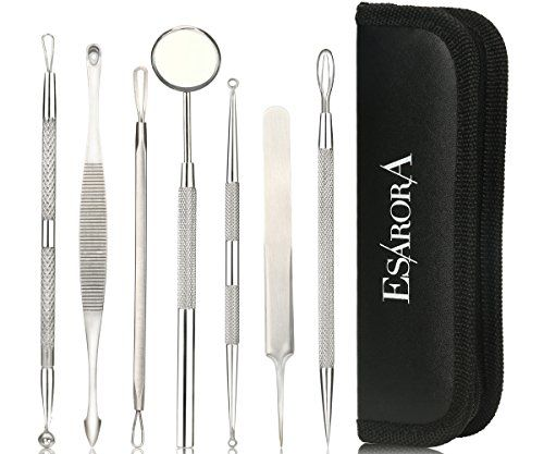 ESARORA Blackhead Remover Pimple Remover Set of 7 Professional Pimple Exctractor Tools More Easy to Remove Blackhead Acne Pimple and Facial Blemish style1 >>> Check out the image by visiting the link.
