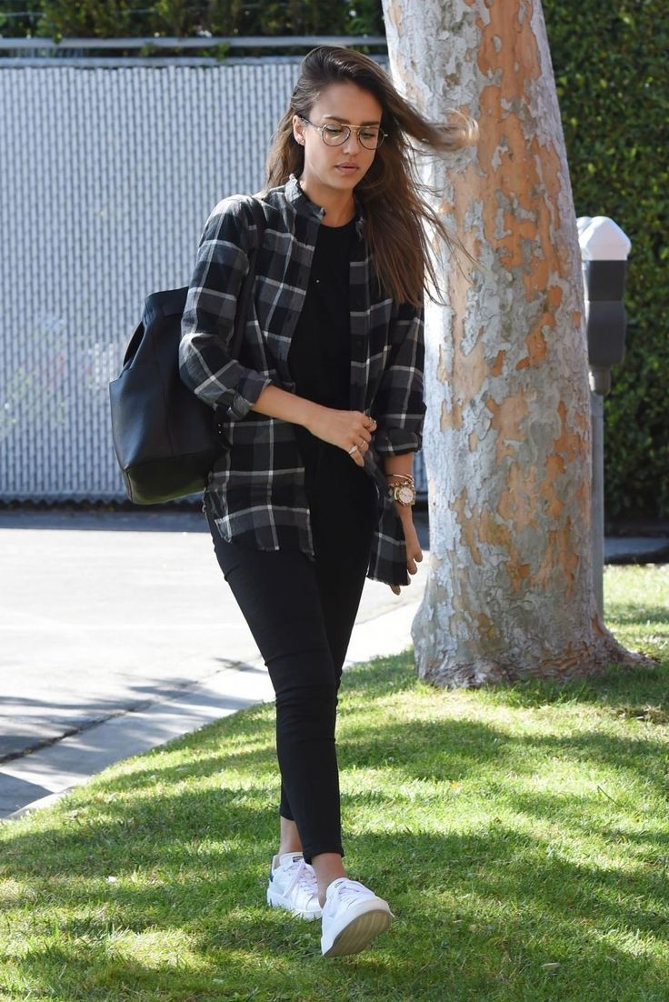 Jessica Alba wearing Cuyana Leather Backpack in Black and Adidas Stan Smith Bold Sneakers