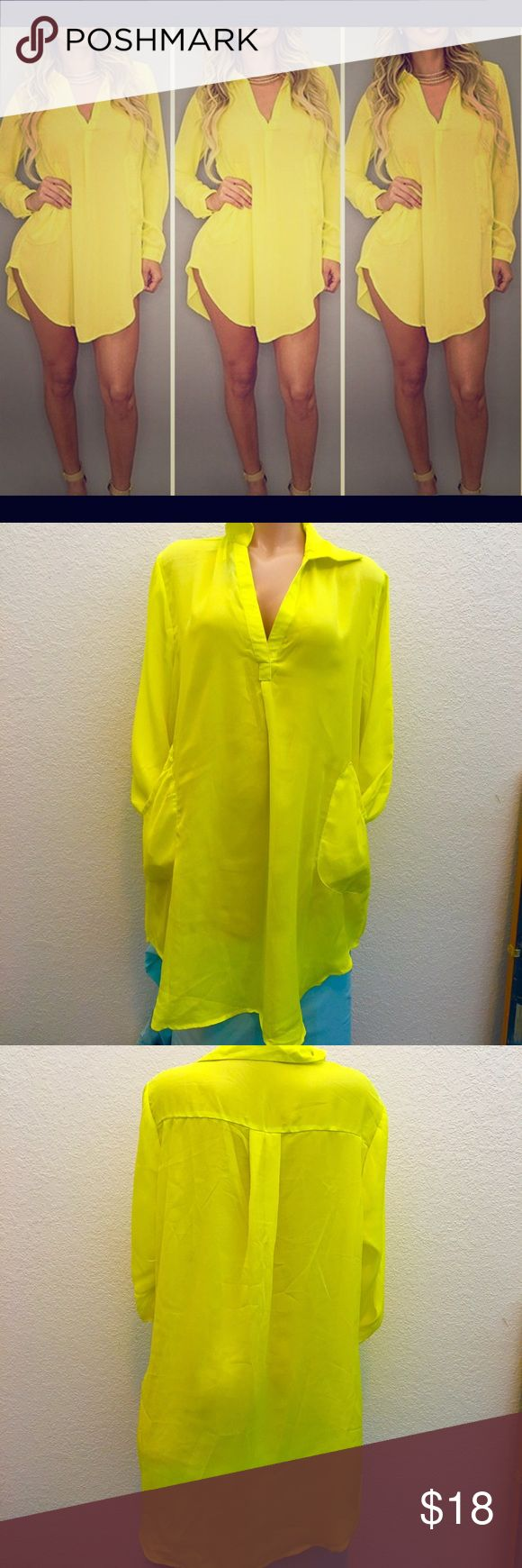 NEW LISTINGVIBRANT YELLOW TUNIC LEGNTH TOP. NEW LISTING  VIBRANT YELLOW SEXY. WOMENS SIZE LONG SLEEVE. SEXY DEEP V NECK & POCKETS. COULD BE WORN AS MINI DRESS AS PICTURED OR AS A TUNIC WITH LEGGINGS OR EVEN AS A COVER UP. CHOICES ARE ENDLESS. THE COLOR IS AMAZING. THE MATERIAL IS NOT SUPER THIN BUT COULD BE SEE THROUGH IN DIRECT LIGHT I HAVE IN WHITE AND DO WEAR CAMI AND LACE CAPRI LEGGINGS AND A BELT. SUPER CUTE OUTFIT. Could go from summer to fall with addition of fleece leggings turtle…