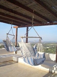 Hammocks on roof terrace - how cool is that! Rethymnon, Greece