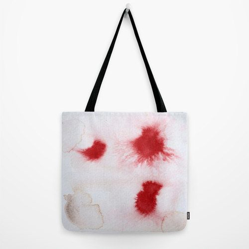 White tote bag with minimal red design printed fom my by studioRS