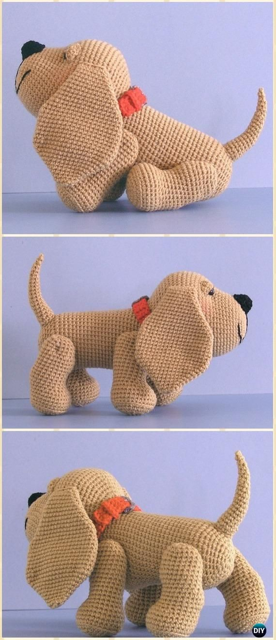 Crochet Henry the Amigurumi Hound Dog Free Pattern - Amigurumi Puppy Dog Stuffed Toy Patterns