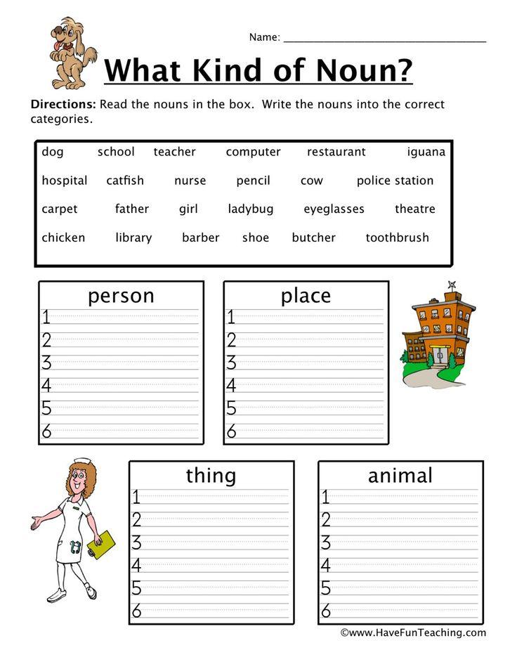 1st grade nouns worksheet for download math worksheet