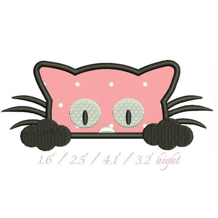 cat face applique embroidery design pussy kitten kitty puss machine pattern digital download designs by GretaembroideryShop on Etsy