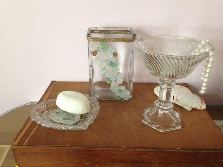 Sea Glass Bath Set Soap Dish Toothbrush Holder Ring Jewelry Tray Real Hawaiian Sea Glass