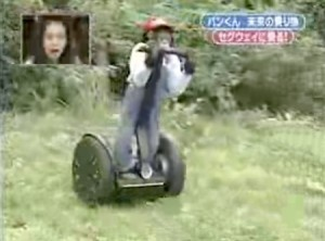 """Pan-Kun the Segway riding Chimp:  In 2008 a video clip of a Japanese game show was posted on Youtube, and it went viral seemingly overnight. The video clip was from a show called """"Shimura Zoo,"""" and it featured a little Chimpanzee named Pan-Kun learning to ride a Segway for his 7th birthday."""