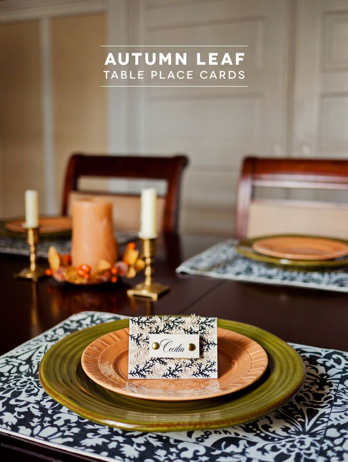 Diy autumn leaf table place cards studios thanksgiving for Diy thanksgiving table place cards