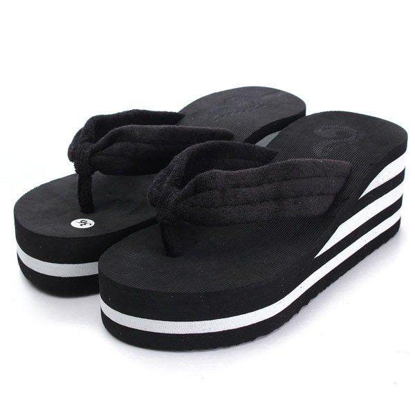 Summer Stripe Platform Flip Flops Clip Top Outdoor Beach Slippers