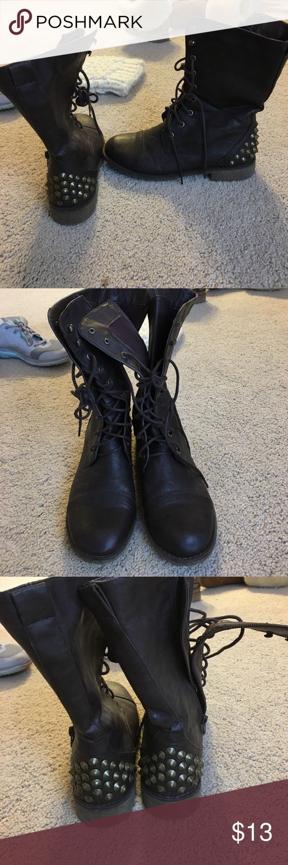 Studded combat boots Brown studded combat boots. Studs are on back ankles. Good condition, worn only a few times. Only few scratch marks made from wear that are hardly visible. Shoes Combat & Moto Boots