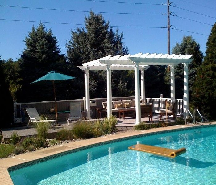 Wooden deck pergola for swimming pool wooden decks for Swimming pool gazebo designs