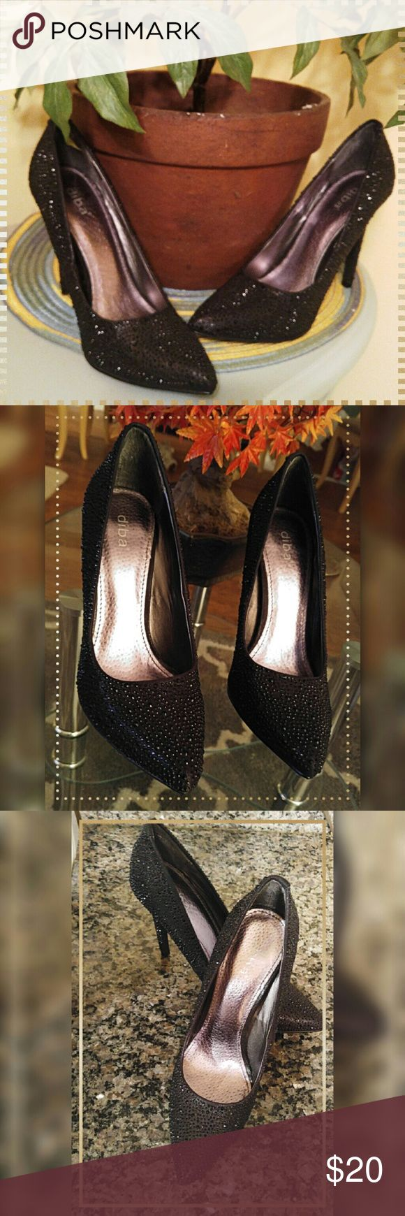 "🎉Diba Sparkly High Heels 👠 Worn once to a reunion and got many compliments. Cushioned very nicely.  No damage to be seen anywhere even on bottom. Blingy& classy! Approx 4.25"" heel❤ Diba Shoes Heels"