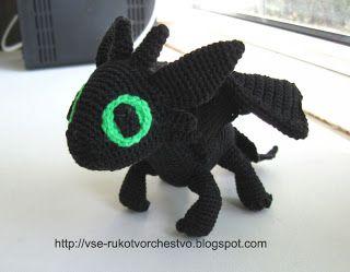 Вязаная крючком игрушка своими руками дракон Беззубик из мульта