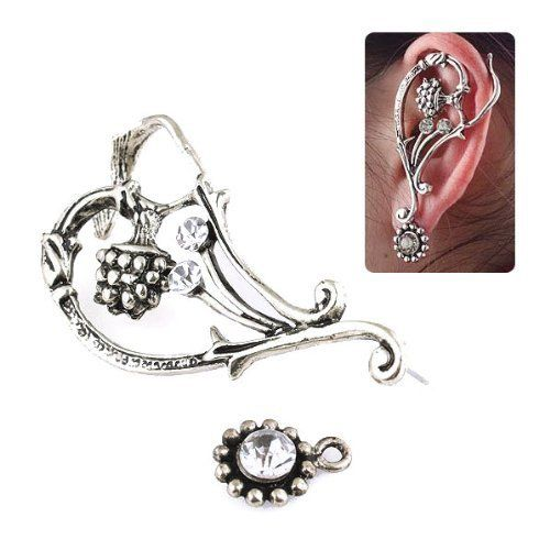 "Antique Silver Floral Left Earcuff Earwrap [pc] Crystalmood [Jewelry]. $6.99. All measurements are approximate and are provided for informational purposes only.. Approx. 1.1"" by 2.25"".. Left ear only. Sold by piece. Piercing required."