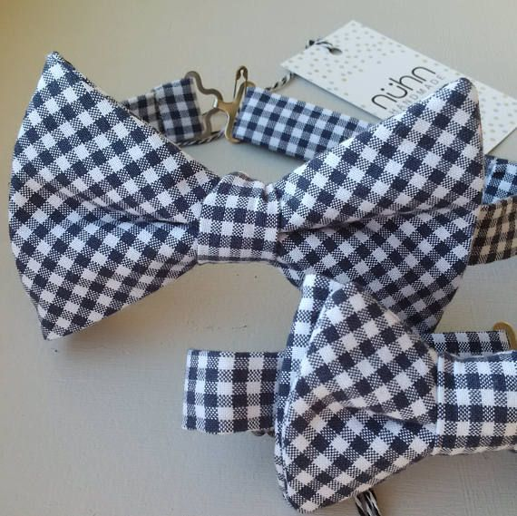 DADDY AND ME bow tie set  adorable Navy and White gingham