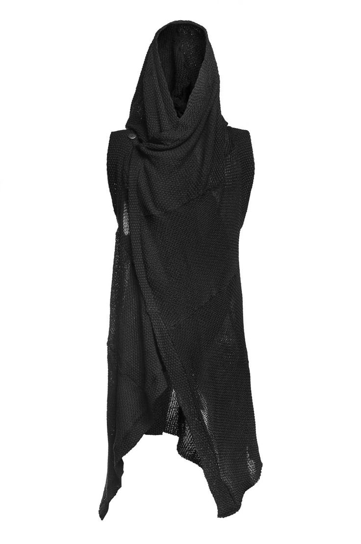 hooded sleeveless cloak minoar man knit cardigan