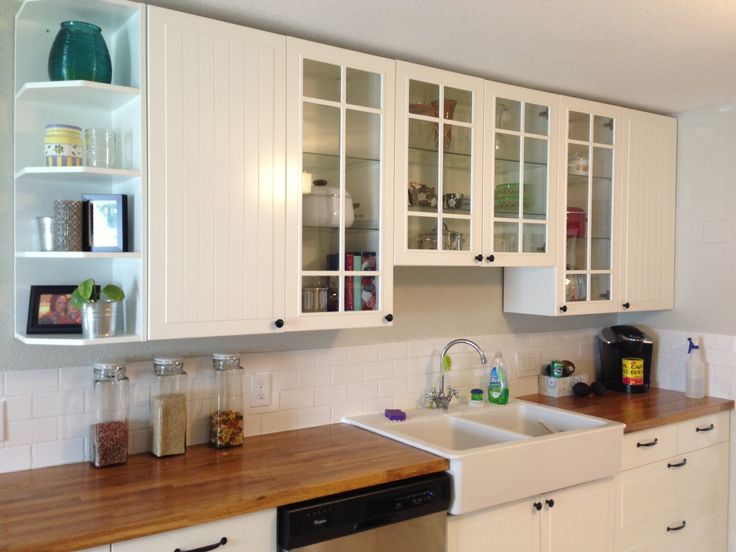 Our kitchen Ikea Stat cabinets butcher block counters