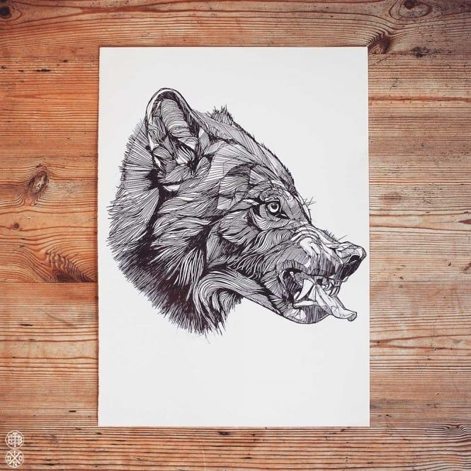 LUKE DIXON - WOLF SNARL - ORIGINAL ARTWORK -