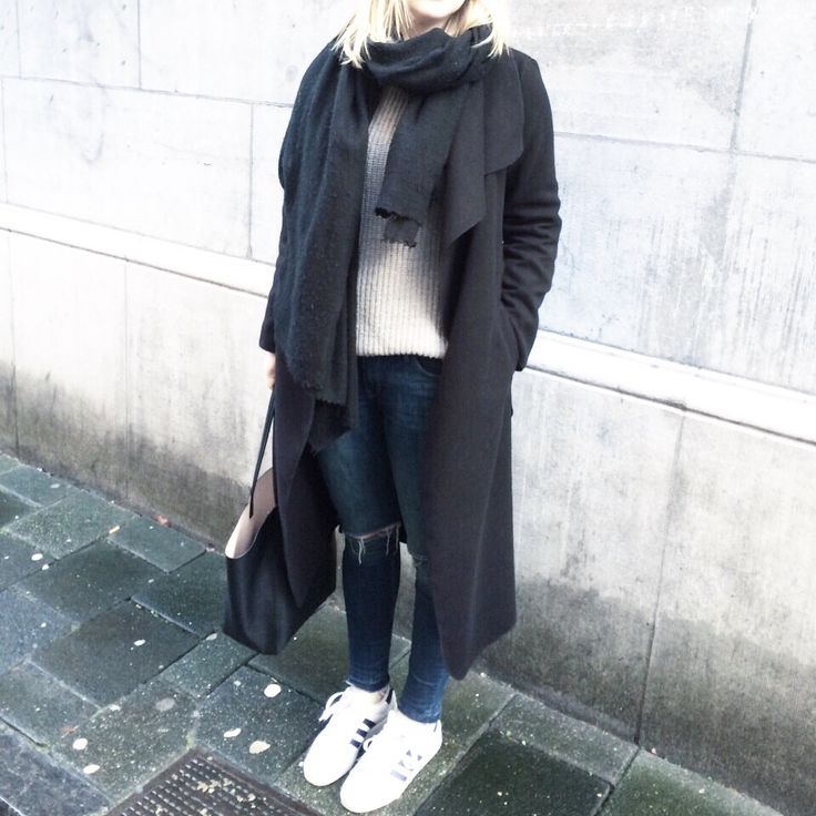 Personal style TXO | long black waterfall coat, sweater, adidas sneakers, scarf, ripped jeans