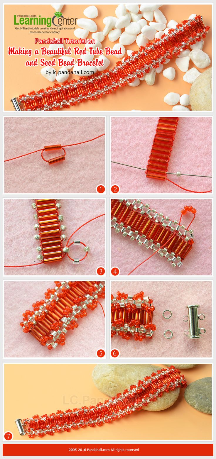 Pandahall Tutorial on Making a Beautiful Red Tube Bead and Seed Bead Bracelet…