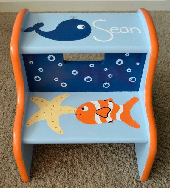 Ocean Step Stool Children's Step Stool by FrogsAndFairytales for Tristan's bathroom or something like it