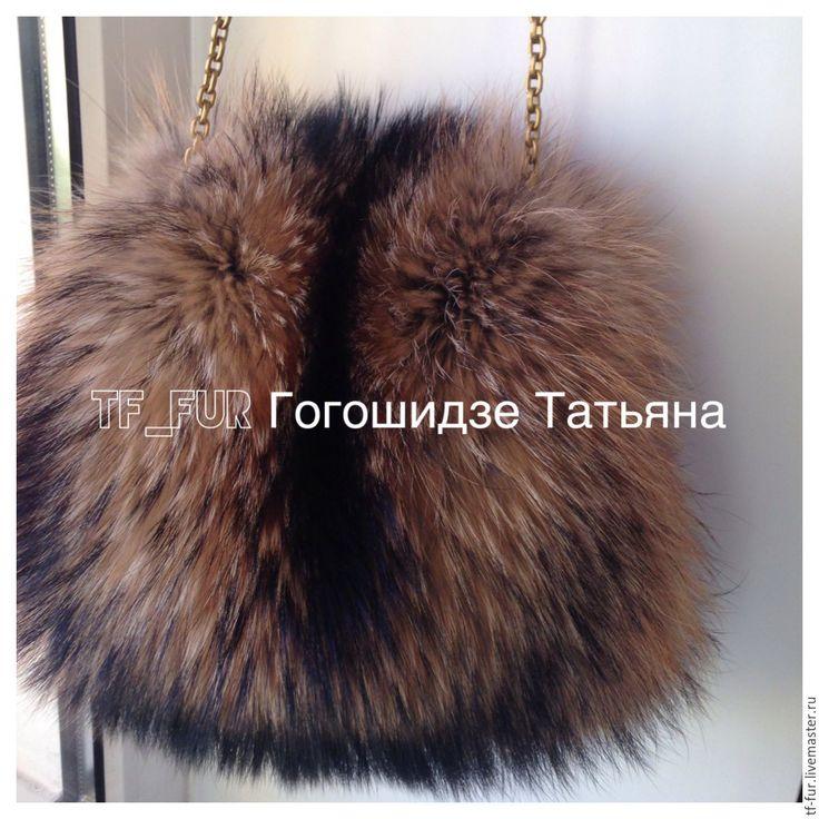 Купить Муфта для рук из натурального меха енота - бежевый, однотонный, муфта, муфта для рук